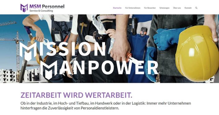 Webdesign für MSM Personnel