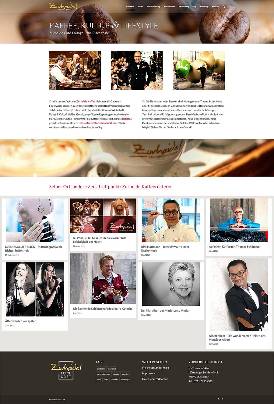 Website Zurheide Kaffee-Manufaktur Düsseldorf