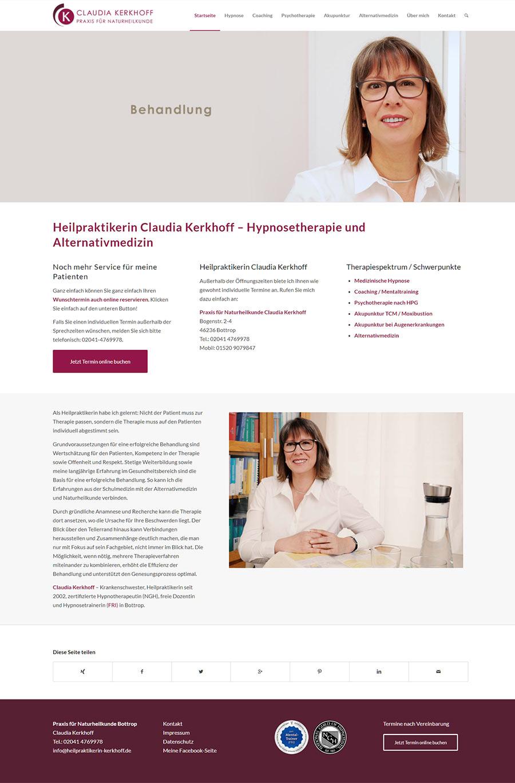 Screenshot: Website Naturheilpraxis Claudia Kerkhoff