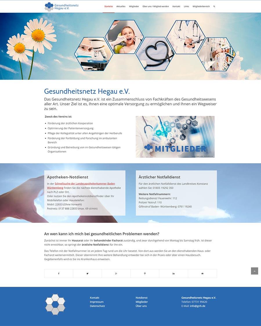 Screenshot Website Gesundheitsnetz Hegau